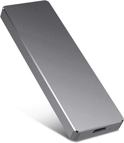 Jetzz ポータブル外付けハードドライブ - 超スリムHDD外付けHDDタイプC外付けUSB3.1ハードドライブ Mac、PC、ノートパソコン用 2TB ブラック