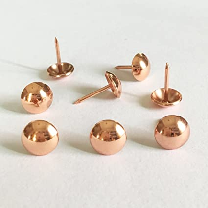 500pcs A Lot: D11mmxL17mm Rose Gold Sofa Upholstery Tacks Wooden Furniture  Decorative Tacks Hobnail Thumb