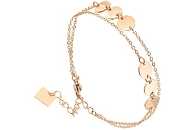 ea292b07b83ba Zag Bijoux Chain Bracelet with 2 Rows of Pink Gold  Amazon.co.uk  Jewellery