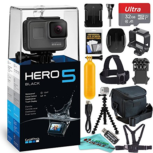 Cheap GoPro HERO5 Black + 32GB Memory Card & Card Reader + Case + Chest Strap Mount + Flexible Tripod + Extendable Monopod + Floating Handle + Liquid Deals Cloth + FREE Accessory Bundle!