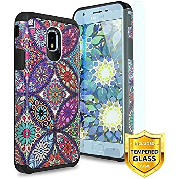 TJS Case for Samsung Galaxy J3 2018/J3 V 2018/J337/Express Prime 3/J3 Star/J3 Orbit/J3 Achieve/J3 Prime 2/Amp Prime 3/Sol 3, with [Tempered Glass ...