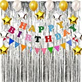 Happy Birthday Party Decorations kit, Rainbow Birthday Party Supplies for Girl Boy Birthday Decorations with Happy Birthday Banner, Flag Pennants, Balloons and Set of 2 Silver Foil Fringe Curtains