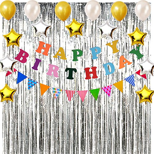Happy Birthday Party Decorations kit, Rainbow Birthday Party Supplies for Girl Boy Birthday Decorations with Happy Birthday Banner, Flag Pennants, Balloons and Set of 2 Silver Foil Fringe Curtains -