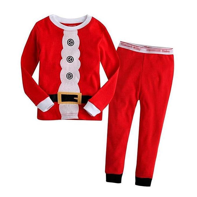 Hzjundasi Navidad 2 Pcs Algodón Ropa de dormir Unisexo Pequeño Chicos Chicas Familia Xmas Papá Noel