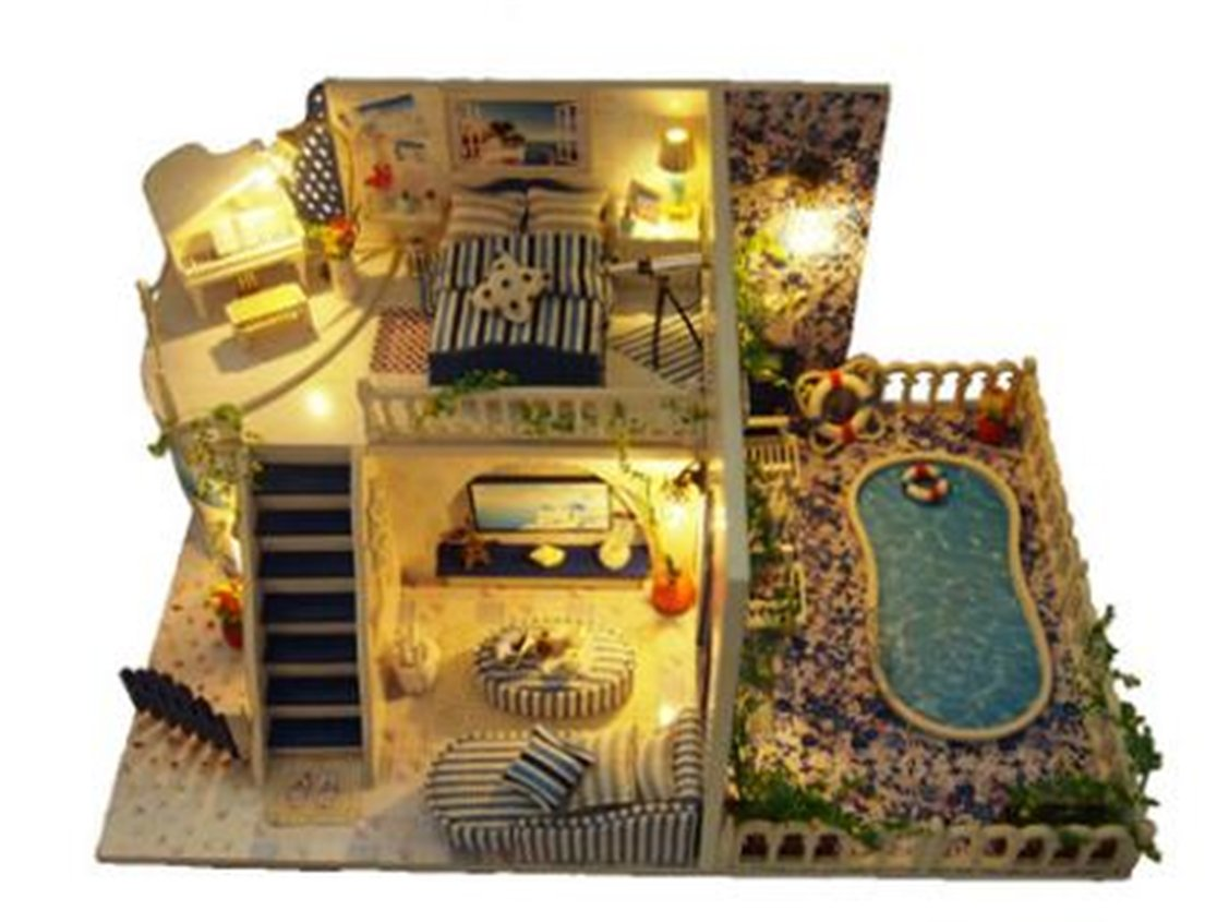 Tmrow 1pc DIY Santorini Dollhouse Wooden Miniature Kit X-mas Gift by Tmrow