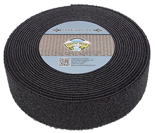 Country Brook Design 2 Inch Black Double Sided Hook and Loop, 10 - Heavy Stick Velcro Duty