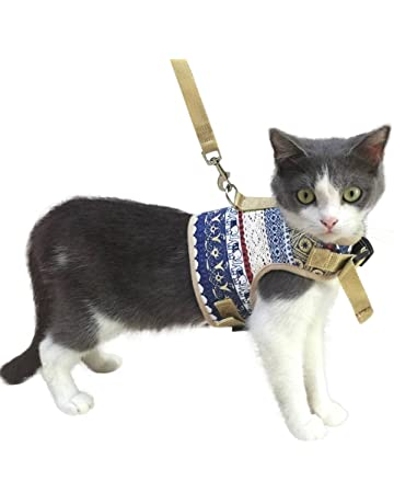 1c204ff2b KZHAREEN Escape Proof Cat Harness with Leash Set Adjustable Soft Mesh for  Kitty Puppy Small Dogs
