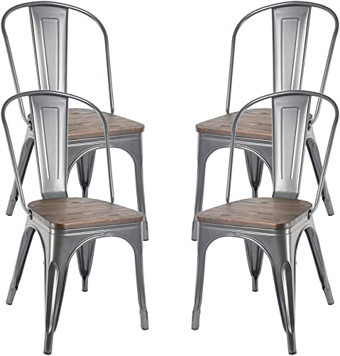 H JINHUI Metal Dining Chairs for Indoor Outdoor Use, Stackable Side Chairs for Kitchen Bistro Caf Trattoria, Set of 4 Gray with Wood Seat