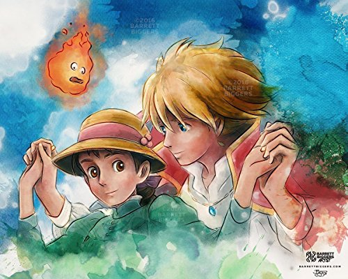 Anime Inspired Romantic Sophie and Howl's Moving Castle Inspired Painting Giclèe (Sophie Ink)