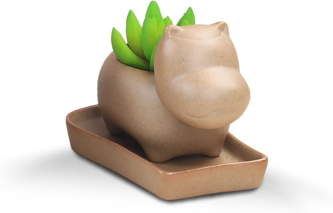 VanEnjoy Cartoon Ceramic Succulent Planter Hippo, Cactus Pot Planter, Flower Pot, Earthtone Tan Unglazed Brown Pottery Bonsai Pot, Natural Finish, with Drainage Hole Saucer Tray Hippo