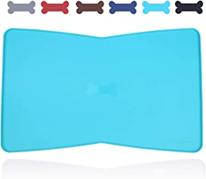 """Vivaglory Pet Feeding mat, Large (23.6"""" x 15.7"""") or Small (18.9"""" x 11.8""""), Waterproof Food Grade Silicone Dog Food Mat with Raised Edge, for Kitty Puppy Cat Dog"""