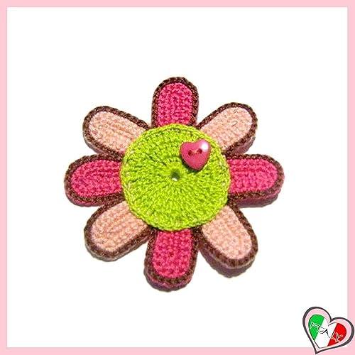 Grün Lachs Und Fuchsia Häkeln Blume Für Applikationen Brosche Oder