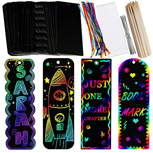 Supla 36 Sets 4 Style Magic Scratch Rainbow Bookmarks Making Kit for Kids Students Party Favor Scratch Paper DIY Bookmarks Bulk with Scratching Tools Satin Ribbons for Classroom Activities