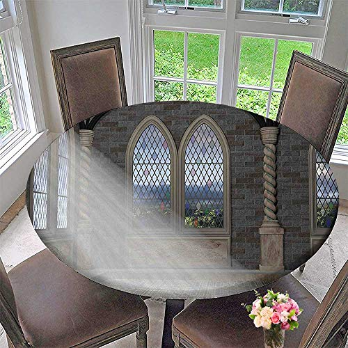 Mikihome Simple Modern Round Table Cloth Rays Streaming Through Stained Glass Window Ancient Palace Castle Grey Cream White for Daily use, Wedding, Restaurant 31.5