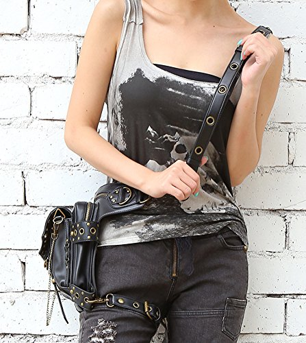Portamonete Henmerry Uomo Black1 Vintage Donna Retro Black7 Rock Gothic Steampunk Handbag xqwYrfqS0