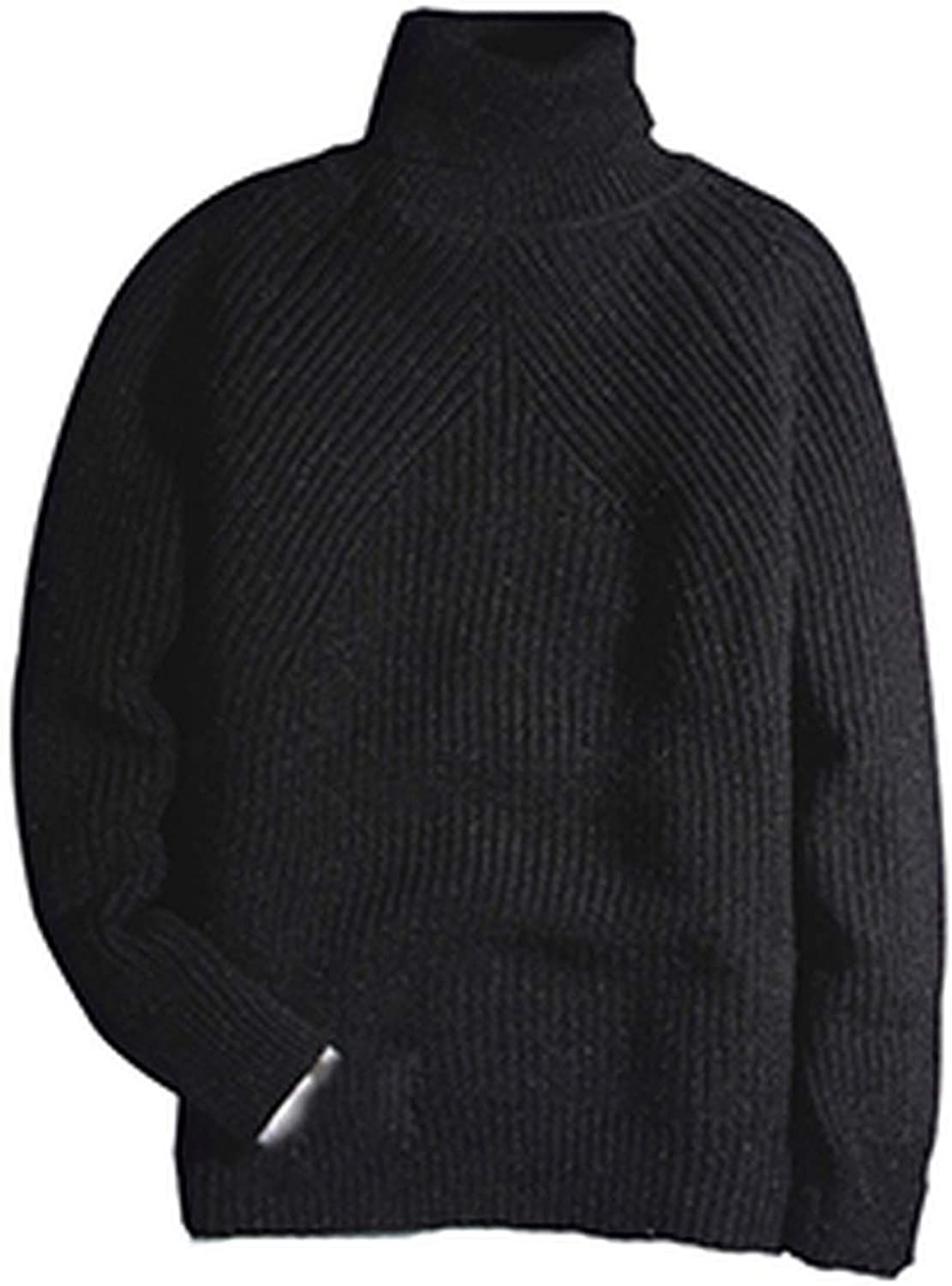 Friendshiy Sweater Man 2019 Winter Thick Turtleneck Mens Pullover Sweaters Casual Crocheted Striped Knitted,X-Large,Black2