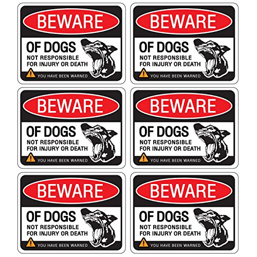 Dog Door Knocker (Beware of Dog Sign Stickers for Home and Business, Vinyl Decals, UV Protected & Waterproof, 4 X 3 Inch - 6 Labels)
