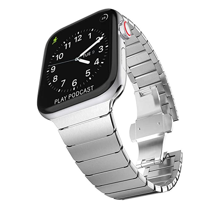 35dcecad67cb06 Surace Stainless Steel Link Bracelet Replacement for Apple Watch Series 4  44mm Band with Butterfly Folding