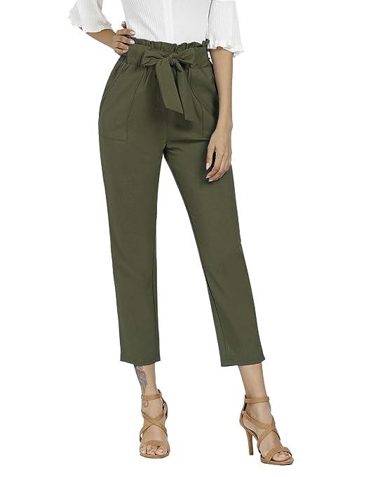 Freeprance Women's Pants Casual Trouser Paper Bag Pants Elastic Waist Slim Pockets by Freeprance