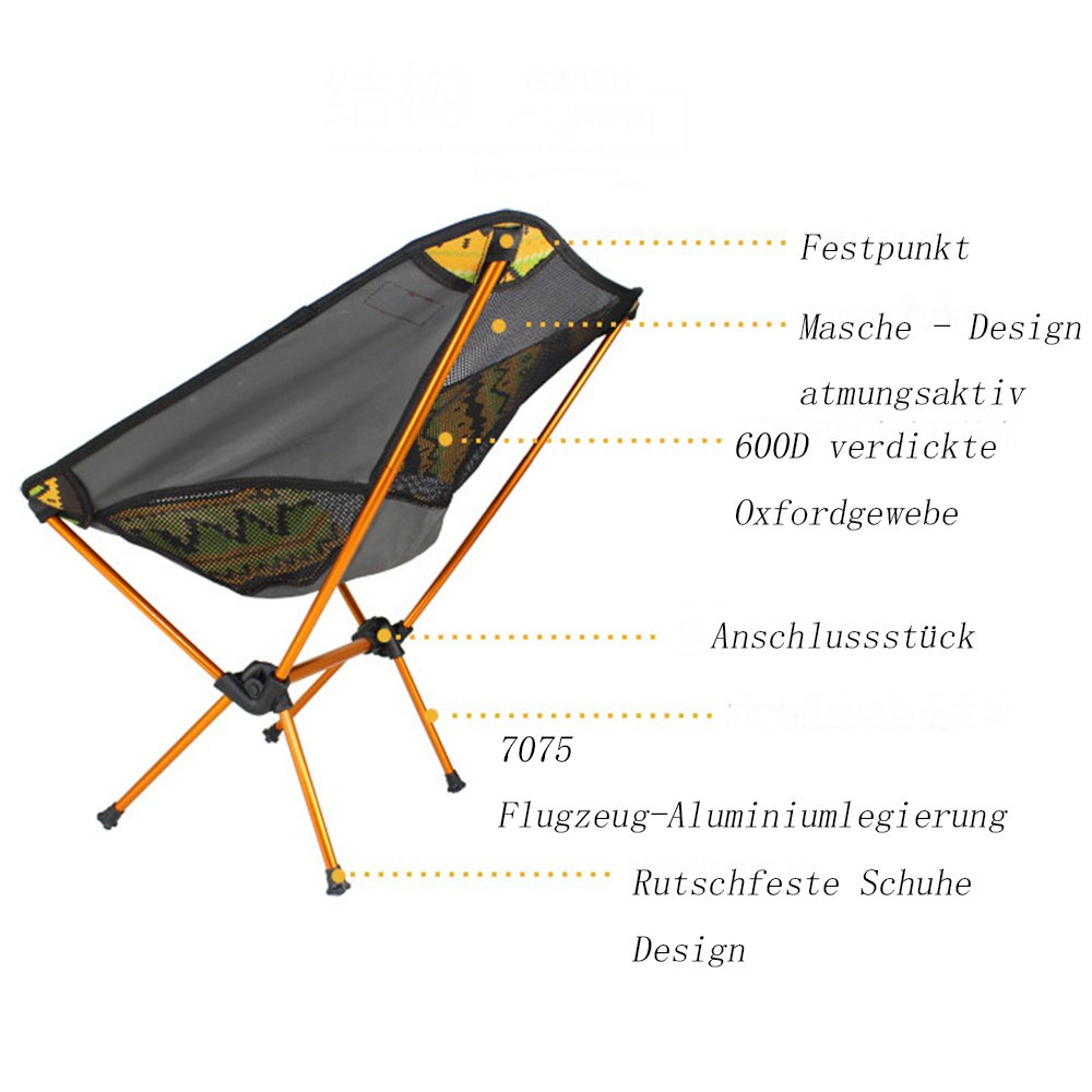 Details about  /ShineTrip Outdoor Tragbarer Campingstuhl Angeln Faltbarer 7075 Aluminiumleg J6A4
