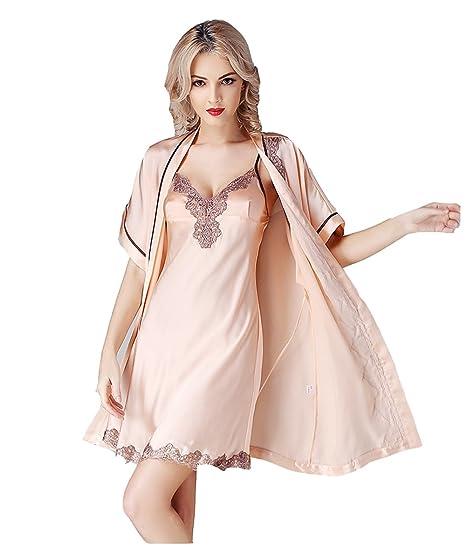 Amazon.com  Sunshine Sexy Lace 100% Silk Short Sleeves Pajamas 34e50c969