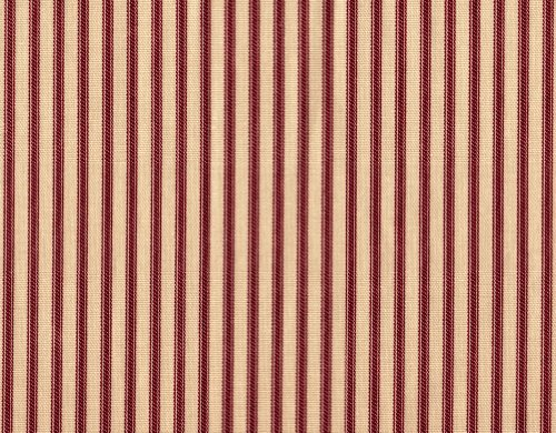 Close to Custom Linens Gathered Bedskirt in French Country Crimson Red Ticking (18