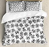 Soccer Queen Size Duvet Cover Set by Ambesonne, Cartoon Funny Football Numbers Pattern of Smiling Digits Sports and Education Theme, Decorative 3 Piece Bedding Set with 2 Pillow Shams, Multicolor