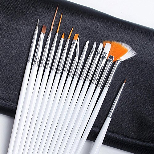 20Pcs Nail Art Brush & Dotting Pen Set Salon Design Painting Drawing Polish Brushes
