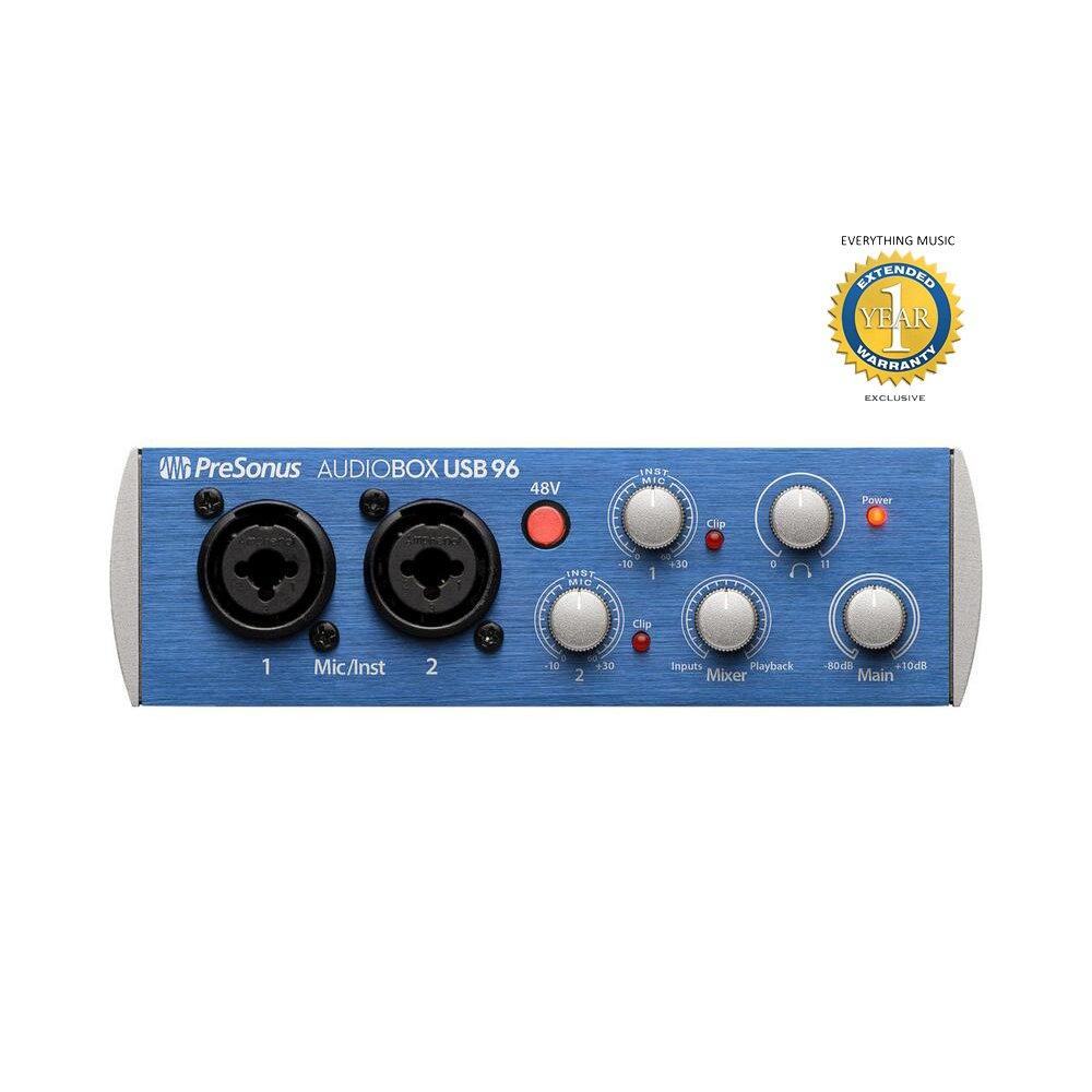 PreSonus AudioBox USB 96 2-channel 24-bit/96kHz USB2.0 Audio Interface with 1 Year EverythingMusic Extended Warranty Free