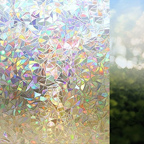 Rabbitgoo 3d No Glue Static Decorative Privacy Window Films for Glass Non-Adhesive Heat Control Anti Uv 23.6in. By 78.7in. (60 X 200cm) - Frosted Design Side Glass