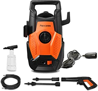 PAXCESS Pressure Power Washer, 1600 PSI 1.4GPM Portable Electric Pressure Car Washing Machine with Spray Gun, Foam Bottle and High-Pressure Hose for Light Duty Cleaning