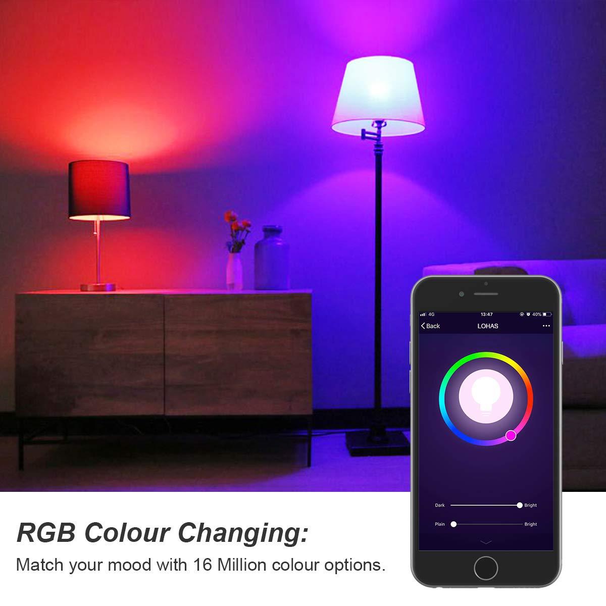 LOHAS WiFi E27 Smart Light Bombillas, con Alexa y Google Home, 12W=80W RGB+día blanco (6000K) Color cambiante de luz de estado de ánimo, 1000LM, ...