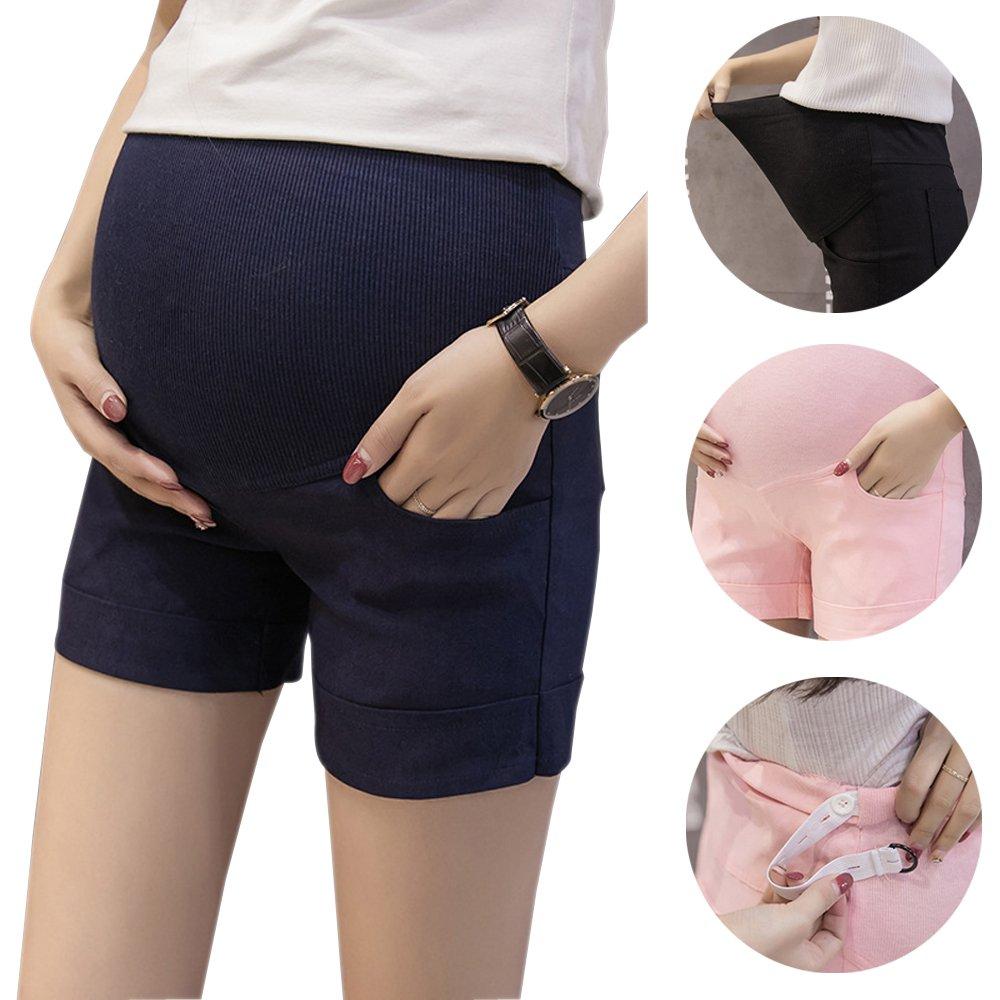 BOZEVON Women Waist Adjustable Pregnant Maternity Pants Trousers Shorts