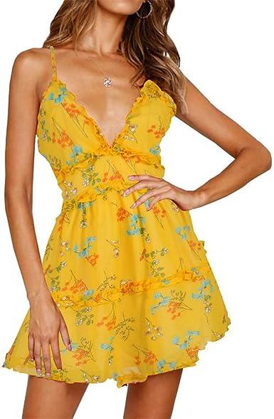 VEMOW Faldas Mujer Vestido de Verano con Cuello en V y Volantes ...