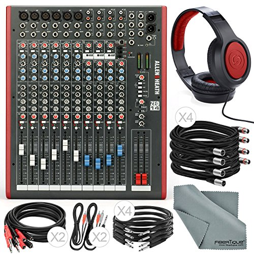 Allen & Heath ZED14 14-Channel Recording Live Sound Mixer with USB Interface and Basic Bundle w/ Headphones,12x Cables, Fibertique (Heath Mixer Zed 14)