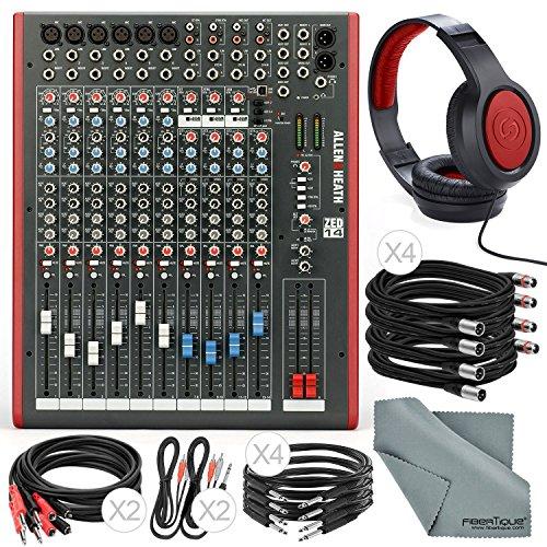 Allen & Heath ZED14 14-Channel Recording Live Sound Mixer with USB Interface and Basic Bundle w/ Headphones,12x Cables, Fibertique (Mixer Zed Heath 14)