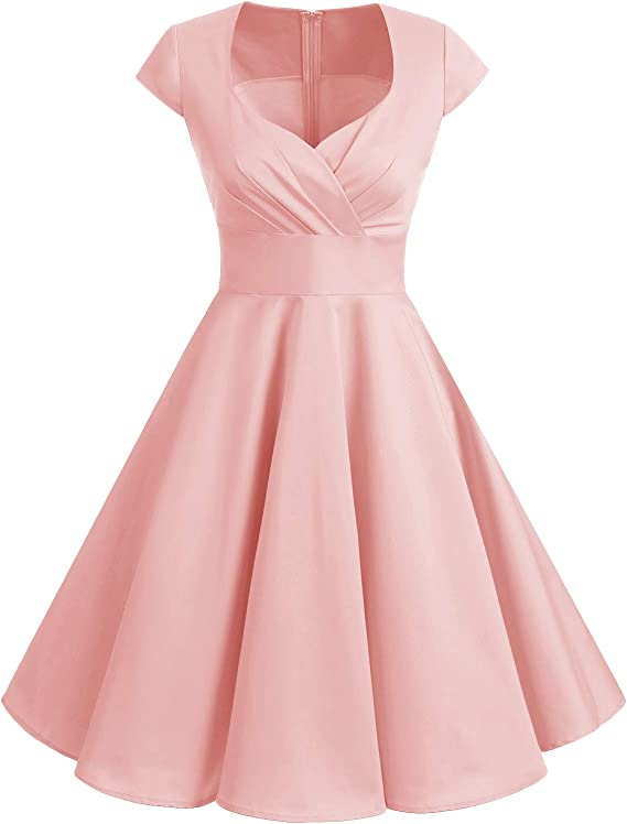 TALLA 3XL. Bbonlinedress Vestido Corto Mujer Retro Años 50 Vintage Escote Blush 3XL