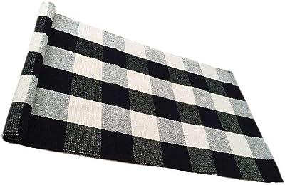 Amazon Com Ukeler 100 Cotton Plaid Rugs Black White Hand