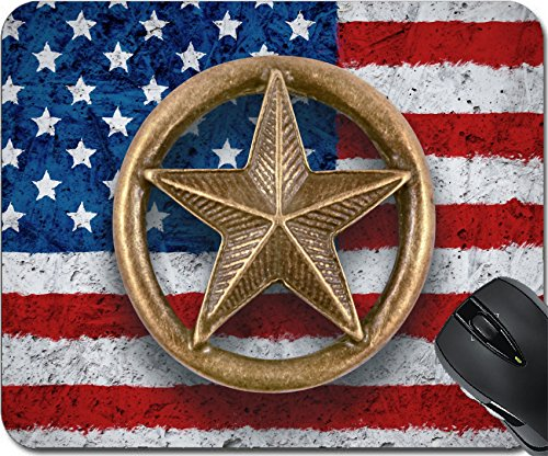 MSD Mousepad Mouse Pads/Mat design 34200089 Bronze star symbol on the flag of the United States background (Symbol Element Bronze)