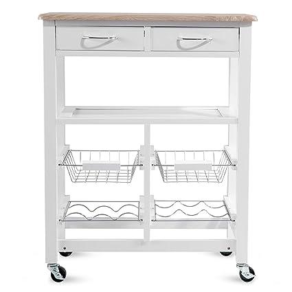 Amazon Com Kitchen Cart Island On Wheels Julyfox Kitchen Trolley