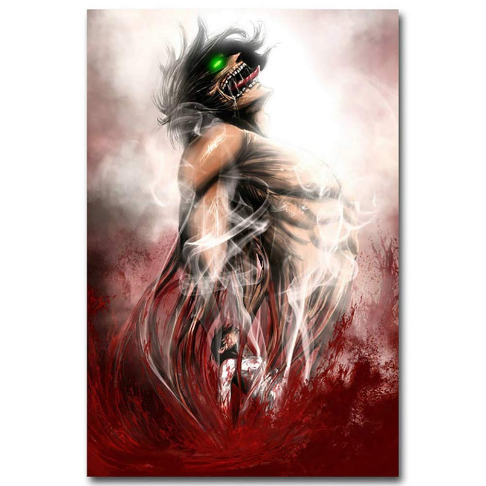 Leguliya Home Decor 5D Diamond Embroidery Animation Attack On Titan Painting Full Square Drill Cross Stitch Picture Handmade Wall Artwork(19.7x27.6inch)