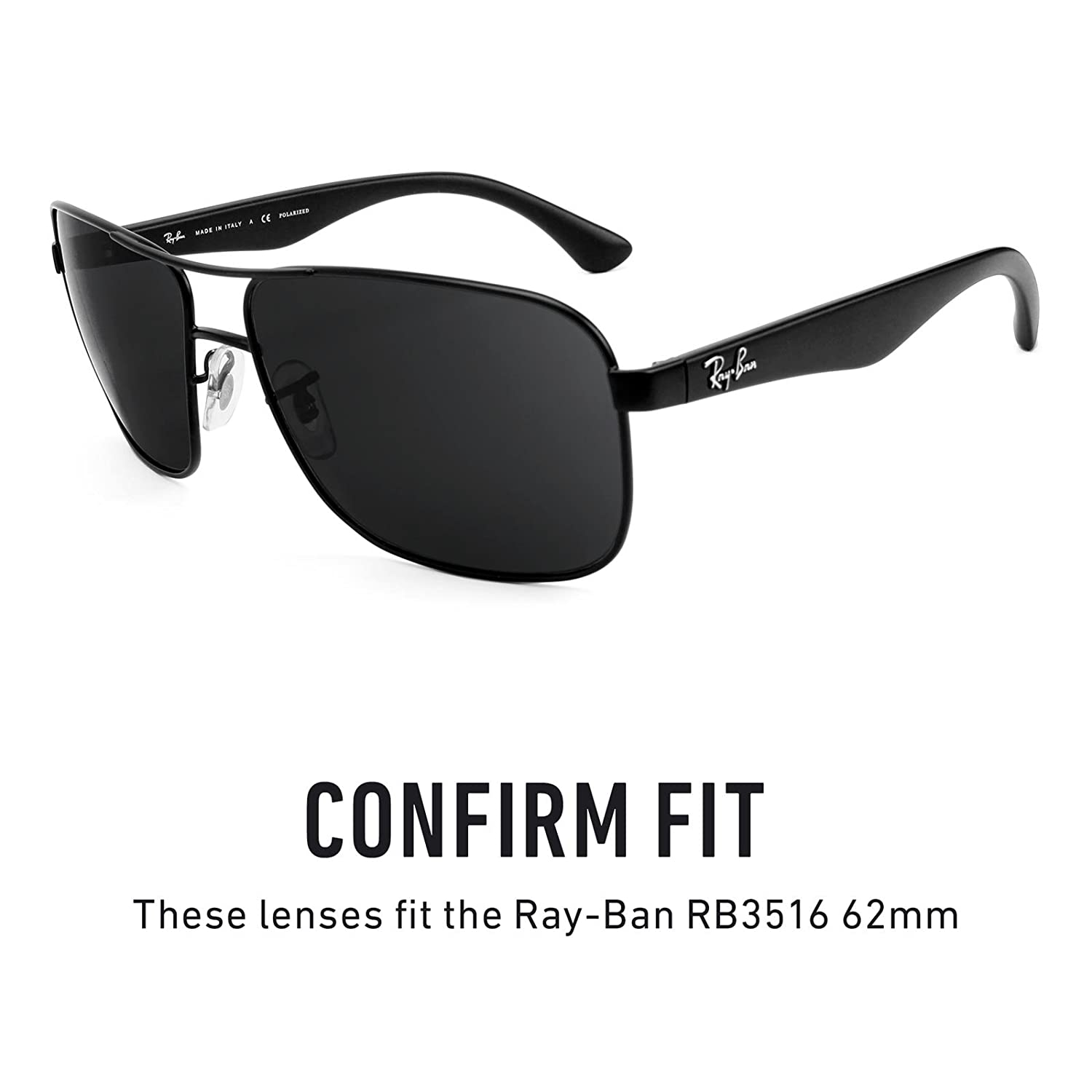 1085ef27a2b Amazon.com  Revant Polarized Replacement Lenses for Ray-Ban RB3516 62mm Elite  Black Chrome MirrorShield  Sports   Outdoors