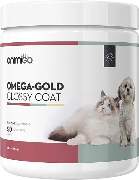 Animigo Omega Pelaje Brillante para Piel y Pelo de Perros y Gatos | con Aceite de Salmón Premium y Levadura de Cerveza | Contiene Omega, DHA Y EPA, ...