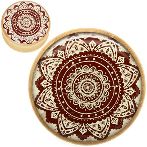 SoScene Wood with Printed Mandala Flower Tunnels Ear Plugs Gauges Sold in Pairs (25mm-1 inch)