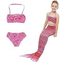 HHD – Traje de baño de 3 piezas para niña – Conjunto con cola de sirena