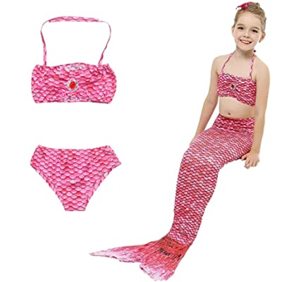 HHD® – Traje de baño de 3 piezas para niña, conjunto con cola de sirena