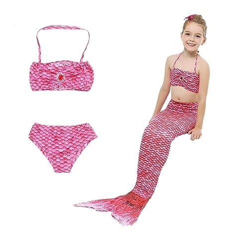 9129a61ca2f7 HHD® 3 Pezzi Costumi da Bagno Ragazza della coda della sirena Mermaid Sirena  Costume da