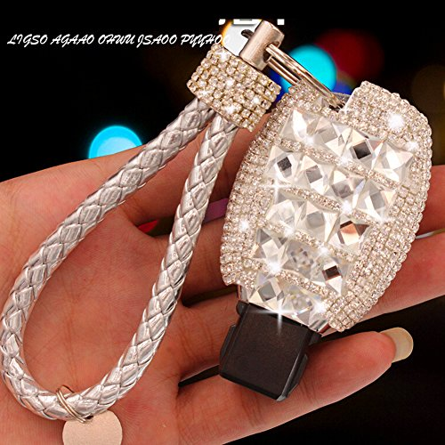 YIKA Benz Diamond Key Shell Car Key Case Cover Holder Pouch Remote Key Chains Key Bag for Mercedes-Benz C E S M CLS CLK GLK GL Class, etc(Silver)