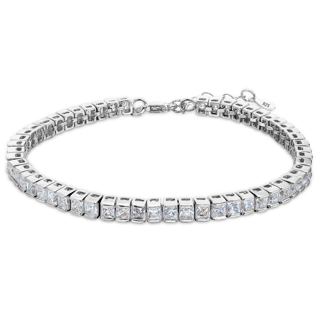 EleQueen 925 Sterling Silver CZ Square Shape Tennis Bracelet, 7.3''+1.4'' Extender