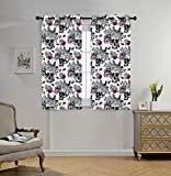iPrint Stylish Window Curtains,Gothic,Day of the Dead Inspired Human Skulls Design with Colorful Flowers Mexican Tradition,Multicolor,2 Panel Set Window Drapes,for Living Room Bedroom Kitchen Cafe